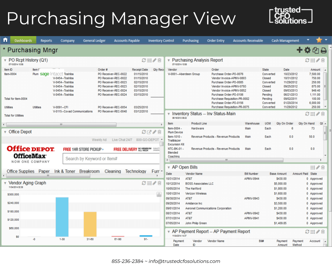 Sage Intacct Purchasing Manager Dashboard