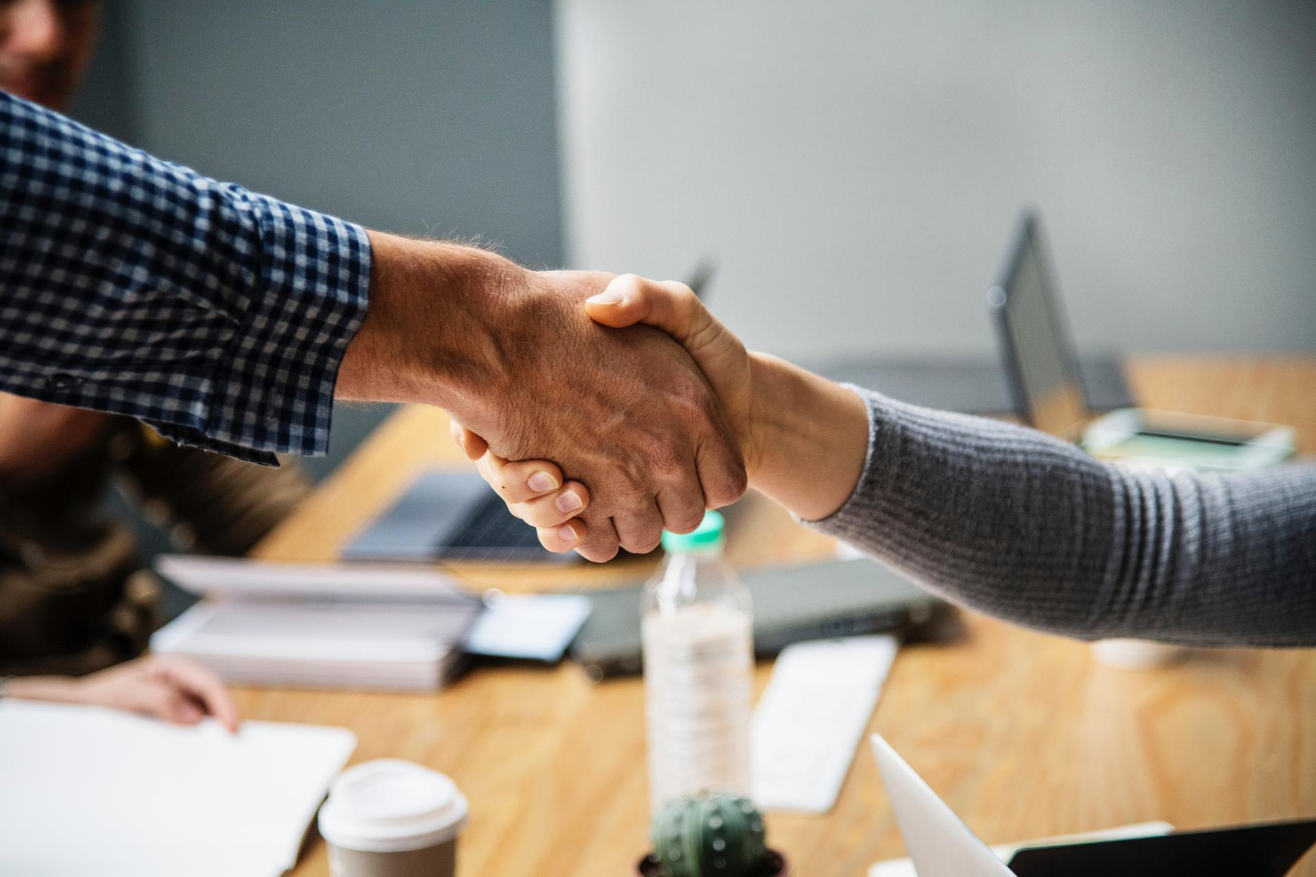 Partners shaking hands, business deal